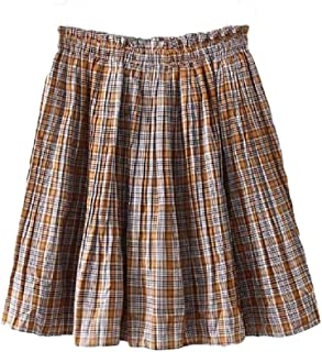 Howely Women's Plaid Lined Empire Waist Fresh Accordion Pleated Skirt