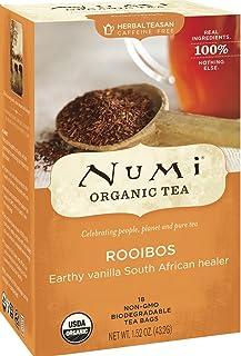 Numi Organic Tea Rooibos, Herbal Teasan in Teabags, 18-Count Box (Pack of 6)