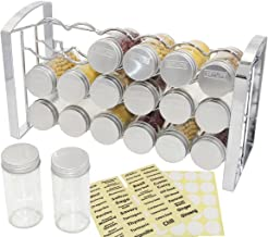 TQVAI Countertop Spice Rack Organizer Wall Mounted Seasoning Stand Holder with 18 Jars and Labels, Chrome