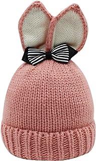 Bolley Joss Toddler Baby Beanie Hat Cute Rabbit Ears Bowknot Cuffed Skull Cap Girls Warm Knitted Hat Fleece Lining