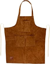 Genuine Leather Grill Work Apron with Tool Pockets ~ Adjustable up to XXL for Men & Women ~ Shop Apron Leather Tool Apron (Tan)