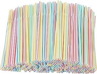 Xyedyaup 400 stuks rietjes dikke kinderrietjes kleurrijke drinkrietjes cocktailparaplu's herbruikbaar stro flexibele gebog...
