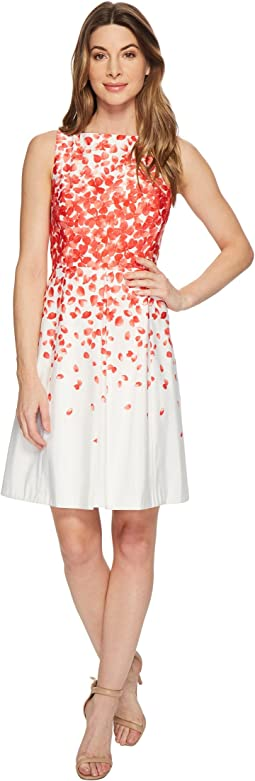 Tahari by ASL Faille Petals Fit-and-Flare Dress