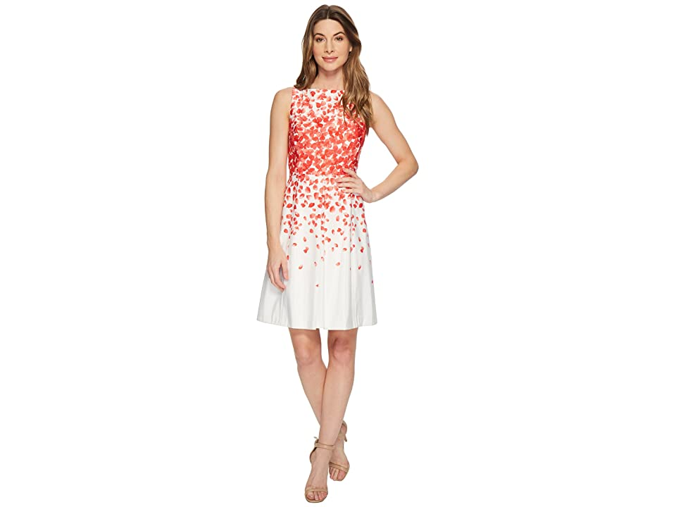 Tahari by ASL Faille Petals Fit-and-Flare Dress (Ivory/Coral) Women