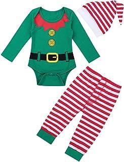 Freebily Baby Weihnachtsoutfit Jungen Mädchen Strampler Weihnachten Babykleidung Set Weihnachtself Kostüm Overall Langarmshirt Hose Mütze