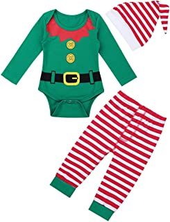 Unisexo Bebé Recién Nacidos Disfraz de Navidad Ropa de Papá Noel Bodies Algodón Manga Larga Pantalones Largos Rayados Pelele Pijama Bebé Niño con Gorro
