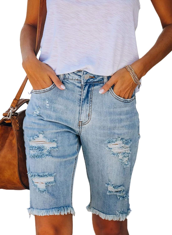 GOSOPIN Women Casual Paper Bag Elastic Waist Summer Denim Shorts Jeans