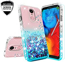 LG Rebel 4 Case,LG Aristo 3 Case,LG Zone 4/LG Phoenix 4/LG Risio 3/Aristo 2 Plus Case w[Temper Glass] Cute Liquid Glitter Phone Case Cover Shock Proof Bling Diamond for Girls Women - Clear/Teal