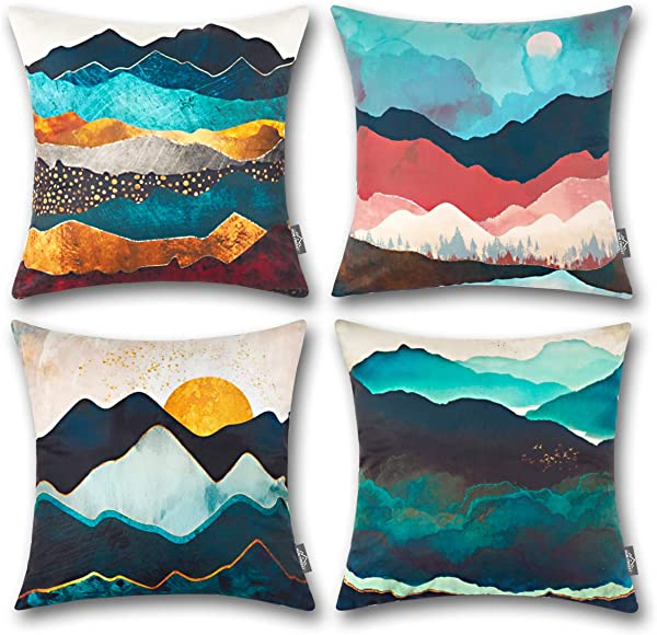 HOMFREEST Halloween Decorative Throw Pillow Case Geometric Sun And Mountain 18x18 Pillow Cover Peach Skin Cushion Cover Square For Sofa Bedroom Car Set Of 4
