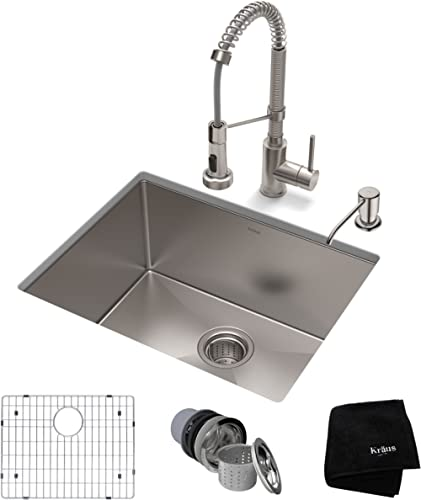 Kraus KHU101-23-1610-53SS Set with Standart PRO Stainless Steel Sink and Bolden Commercial Pull Faucet Kitchen Sink &...