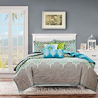 teal and lime green bedding