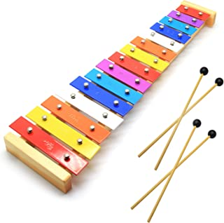 CELEMOON Natural Wooden Toddler Xylophone Glockenspiel For Kids with Multi-Colored Metal Bars Included Two Sets of Child-Safe Wooden Mallets (15-tone)