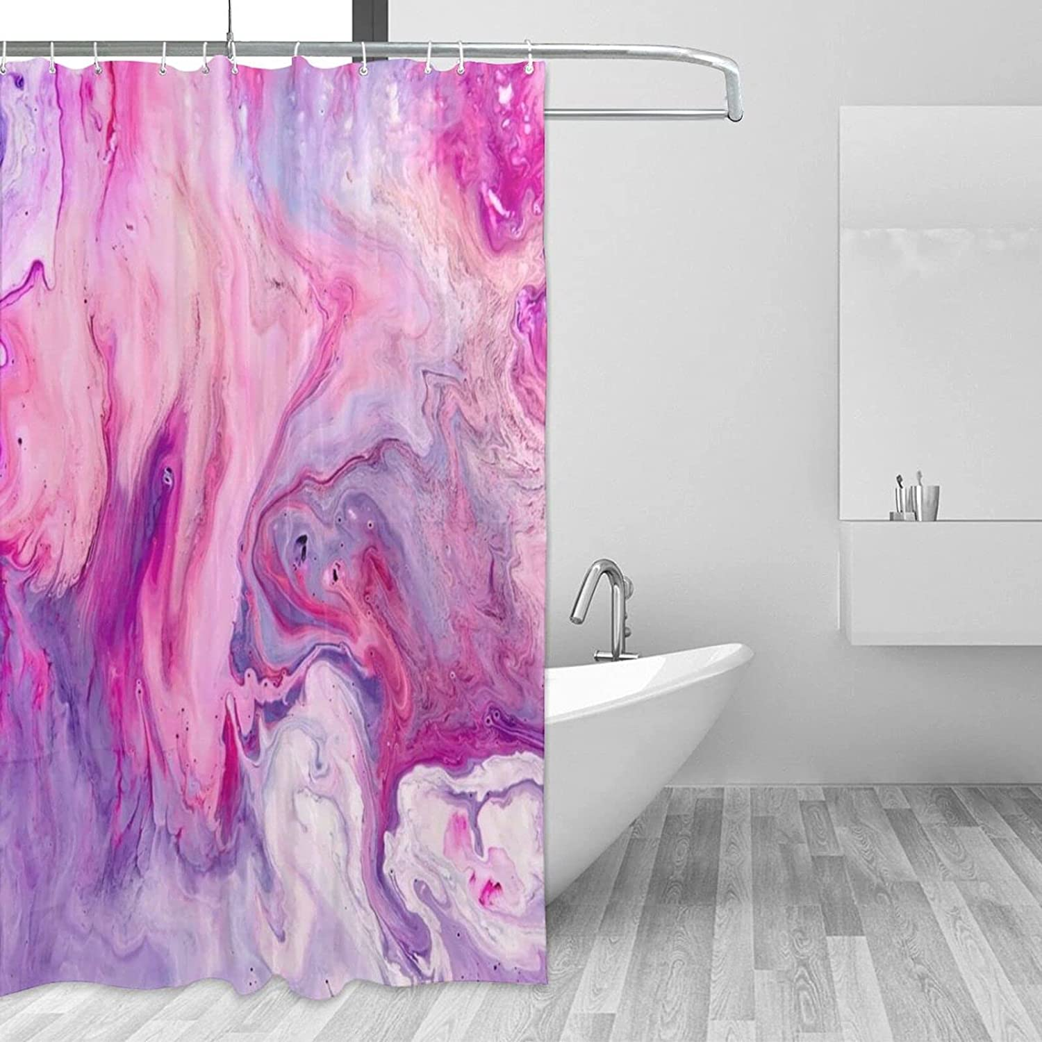 Marble Bathroom Shower Curtain with Hooks Max 84% OFF Sales X 72