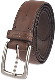 Columbia Men's Casual Leather Belt -Trinity Style for Jeans Khakis Dress Leather Strap Silver Prong Buckle Belt,Brown,36