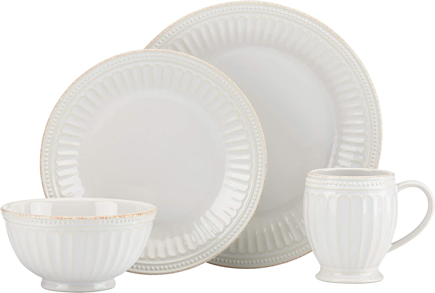 Lenox White Nippon regular agency French Perle Groove LB Cheap mail order sales 6.95 4Pc Place Setting