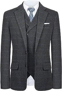 Men Suit Slim Fit Tweed Wool Blend Herringbone Vintage Tailored Modern Fit Suit