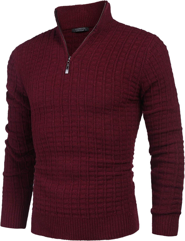 COOFANDY Men's Quarter Zip Sweaters Slim Fit Lightweight Cotton Knitted Mock Turtleneck Pullover