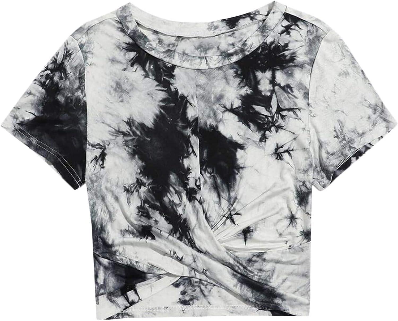 Floerns Women's Short Sleeve Tie Dye Twist Front Summer Crop Tops Tee T Shirts