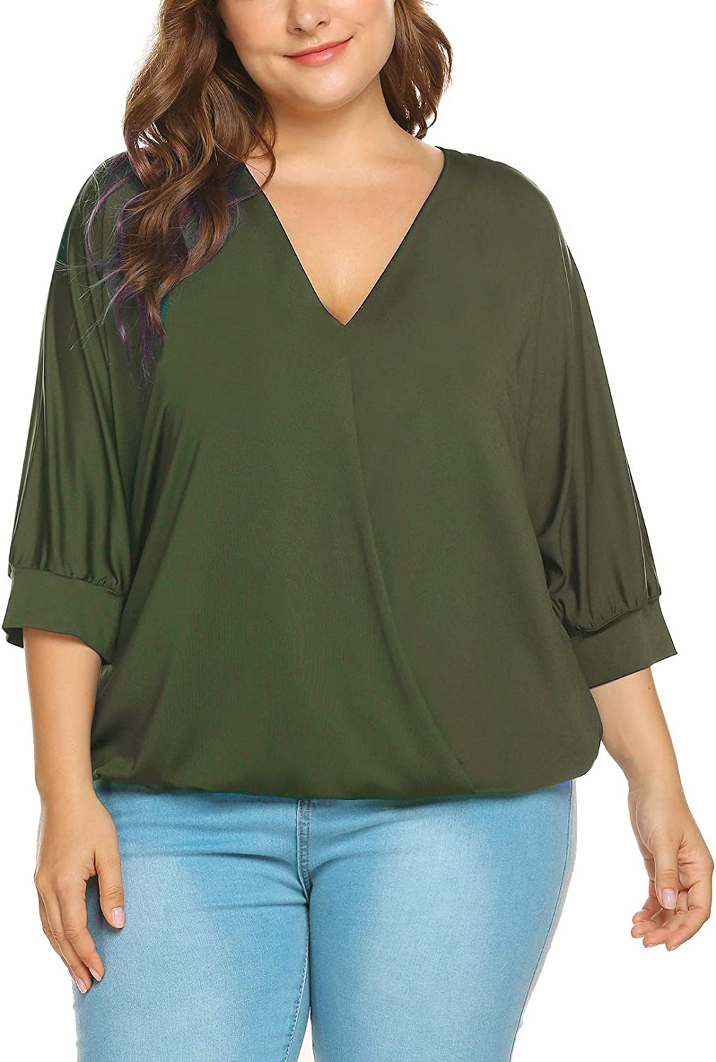 IN'VOLAND Women Plus Size Tops-Wrap Blouse V Neck Front Drape Tops Casual Loose Shirt (16W-24W)