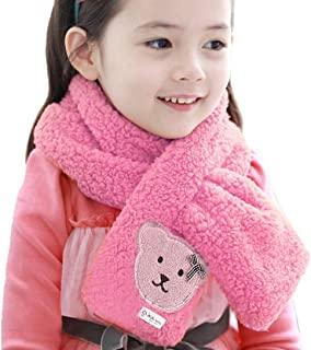 The Coral Velvet Cross Warm Scarf,Highpot Baby Boy Girl Bear Logo Coral Velvet Winter Baby Scarf