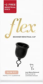 FLEX Menstrual Cup Starter Kit - Reusable Period Cup & Disposable Menstrual Disc - Easy Removal Ring - Small - Black