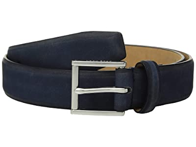Cole Haan 32 mm Burnished Nubuck Leather Belt (Ink) Men