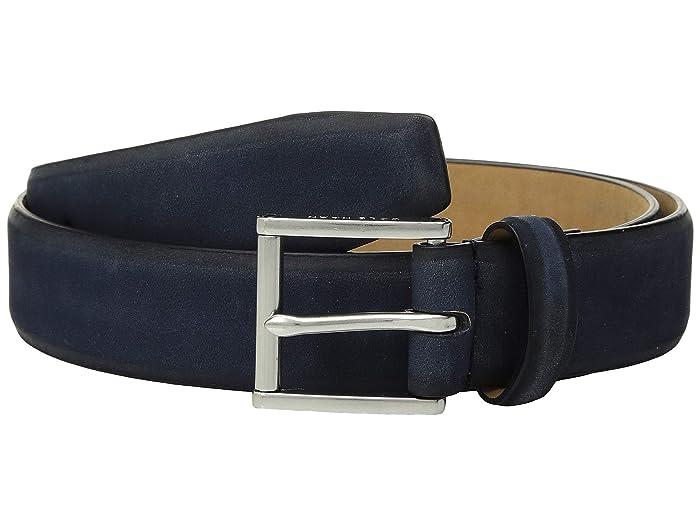 Cole Haan 32 mm Burnished Nubuck Leather Belt (Ink) Men