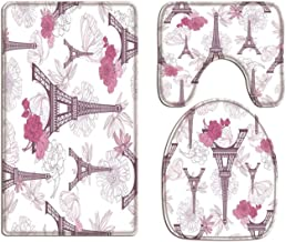 A.Monamour Bath Mat Set of 3 Eiffel Tower Paris Purple Pink Roses Flowers Floral Background Flannel Washable Toilet Pedest...
