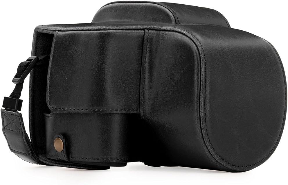 MegaGear Estuche Ever Ready Funda de Cuero de Pronto Uso con Correa Compatible con Panasonic Lumix DC-FZ82