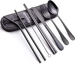 Portable Stainless Steel Flatware Set, Travel Camping Cutlery Set, Portable Utensil Travel Silverware Dinnerware Set with a Waterproof Case (8-pieces flatware set black)