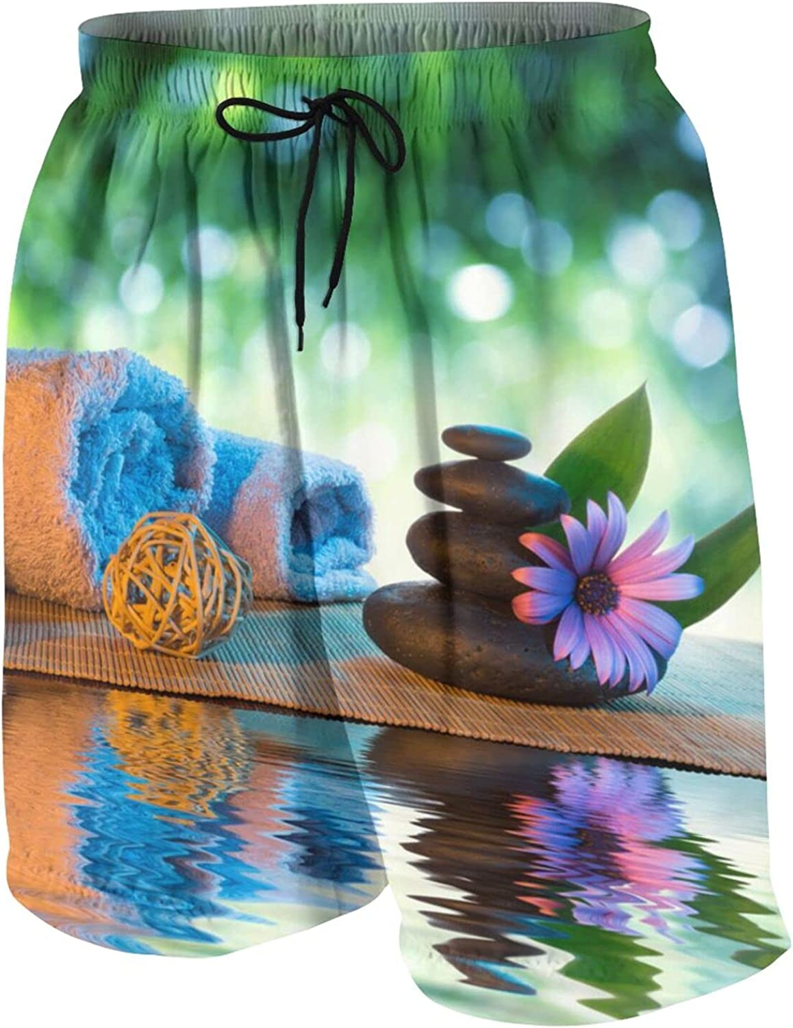 Two Candles and Towels Black Stones and Purple Dai Kids Beach Shorts Youth Boys Board Shorts Trunk Swim Swimming Pants