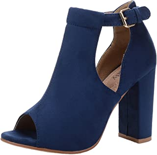 Mila Lady Erin 7A Womens Laser Cut Stacked Chunky Strappy Heel Peep Toe Bootie