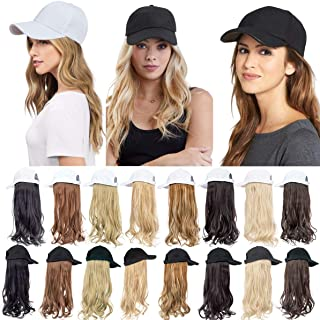 Baseball Cap with Synthetic Hair Hats with Hair Attached for Women Cosplay or Daily Party Wig Detachable Baseball Cap