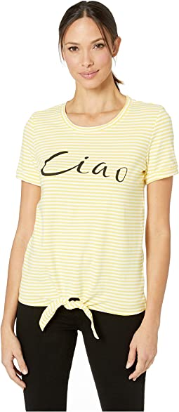 Stripe Jersey Short Sleeve Graphic Tee with Knot