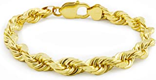 "Men's 14k Yellow Gold Solid 8mm Diamond Cut Rope Chain Bracelet, 8""- 9"""