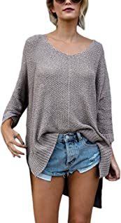 ZKESS Womens Long Sleeve V Neck Blouse Casual Loose Knit Pullover Sweater Tops