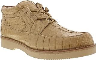 Men's Full Beige Genuine Crocodile Tail Skin Exotic Sneakers