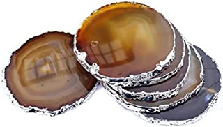 """JIC Gem Silver Plated Natural Agate Coasters, 6 pcs set, 3-4"""", with Rubber Bumper"""