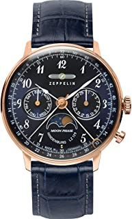 Zeppelin Series LZ129 Hindenburg Multifunction Unisex Day/Date Moon Phase Analog Watch Rose Gold and Blue 7039-3