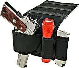 Shark GunLeather Adjustable Bed Mattress Gun Holster with Flashlight Loop & Magazine Holder - Fits All Medium to Large Frame Semi-Autos and Revolvers.
