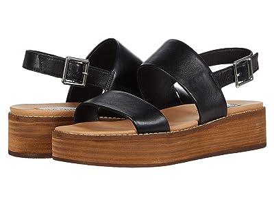 Steve Madden Teenie Wedge Sandal (Black Leather) Women