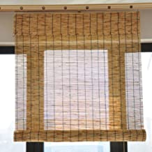 JQes Outdoor Curtains, Old-Fashioned Bamboo Roller Blinds, Hand-Woven Natural Reed Blinds, Lifting Blinds-Roman Blinds, Custom Sizes