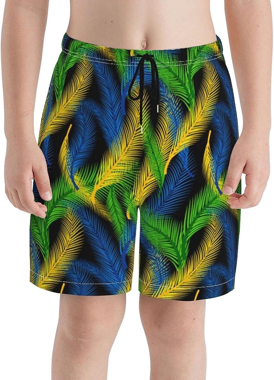 FuYin Boys Teens Swim Trunks Mardi Gras Colors Feather Quick Dry Beach Board Swim Shorts 7-18T