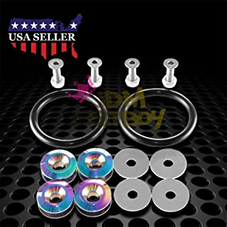 JDMBESTBOY Neo Chrome JDM Quick Release Fasteners for Car Bumpers Trunk Fender Hatch Lids Kit