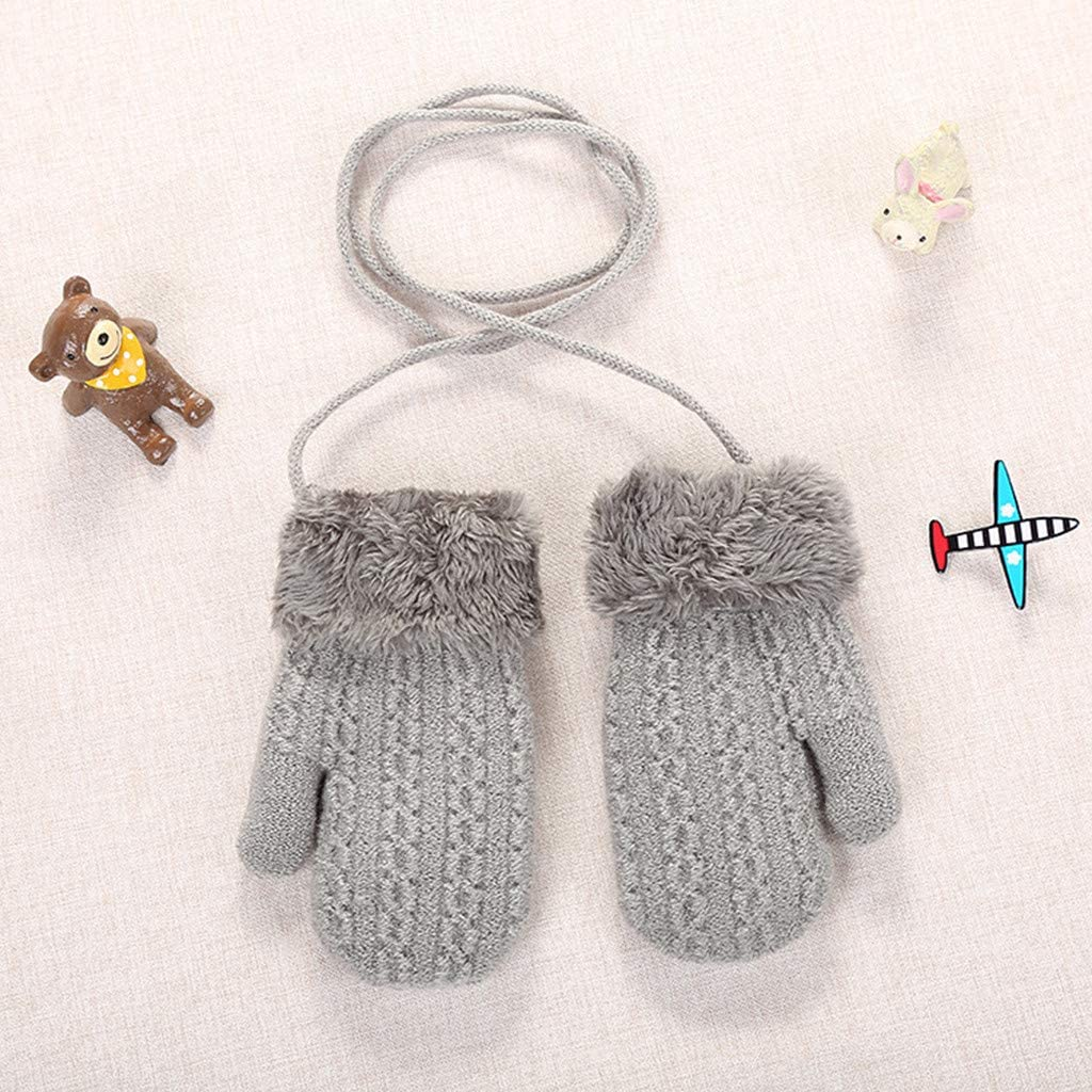 Dark Gray Children Toddler Baby Mittens for 2-4 Years Old FunDiscount Kids Infant Newborn Winter Mitten Cute Knit Faux Fur Cuff Warm Fleece Lined Thick Thermal Gloves for Boys Girls