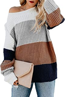HZSONNE Women's Casual Color Block Chunky Stripe Cable Knitted Crew Neck Loose Pullover Sweaters Jumper Tops