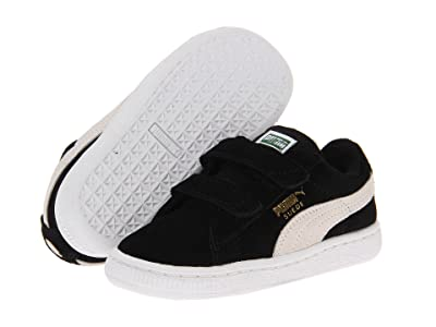 Puma Kids Suede 2 Straps (Toddler) (Black/White) Kids Shoes