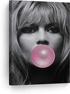 Sexy Look Brigitte Bardot Pink Bubble Gum Chewing Gum Wall Art CANVAS PRINT Black and White Picture Iconic Pop Art Home Decor Artwork Gallery Stretched Ready to Hang- %100 Handmade in the USA - 12x8