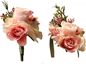 MOJUN Artificial Rose Flower Boutonniere Corsage Set Handmade Floral Silk Fabric for Grooms Groomsmen Bridal Bridesmaids Prom Party Wedding Decor, Pink