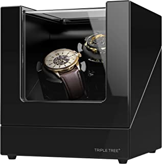 TRIPLE TREE Double Watch Winder for Automatic Watches with Flexible Plush Pillow, Extremely Silent Japanese Motor, 4 Rotation Mode Setting, Fit Lady and Man Automatic Watch